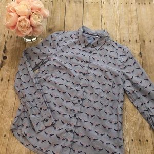 Boden Classic Fit Bird Print Blouse- US Size 6